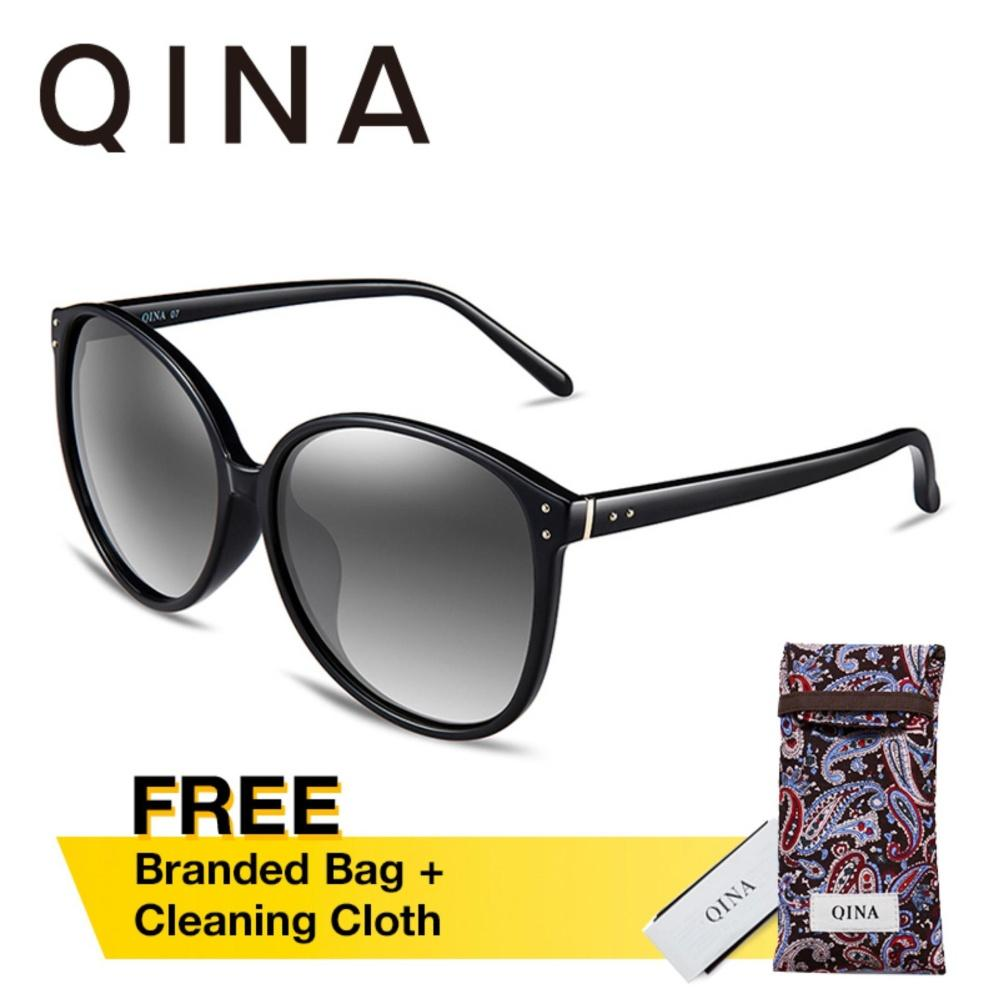 Harga Qina Kacamata Polarized Wanita Hitam Cat Eye Lensa Abu Abu Proteksi Uv 400 Qn3520 Satu Set
