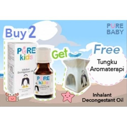 Pure Kids (Baby)  Inhalant Decongestant Oil 2 pcs + Free Tungku Aromatherapy