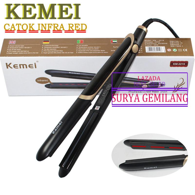 Ulasan Tentang Kemei Km 2219 Nano Infra Red Catok Technoligi Japan Catokan 2 In1 Exlusive Hair Styling Straightener Black Gold