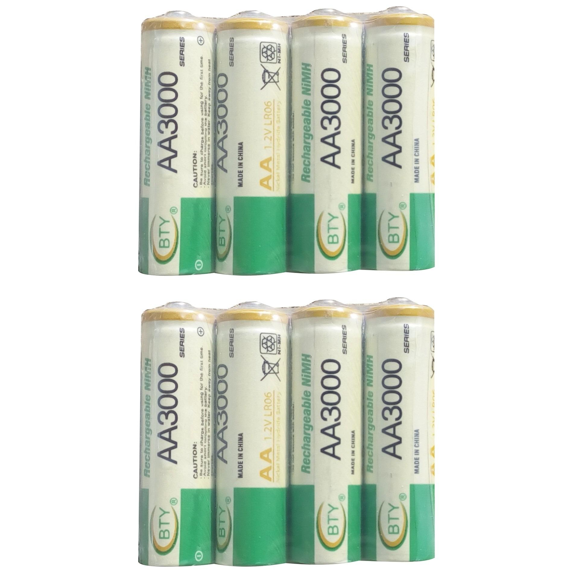 Harga Bty 8 Pcs Rechargeable Baterry Aa Nimh 1 2V 3000 Mah Plastic Pack Bty