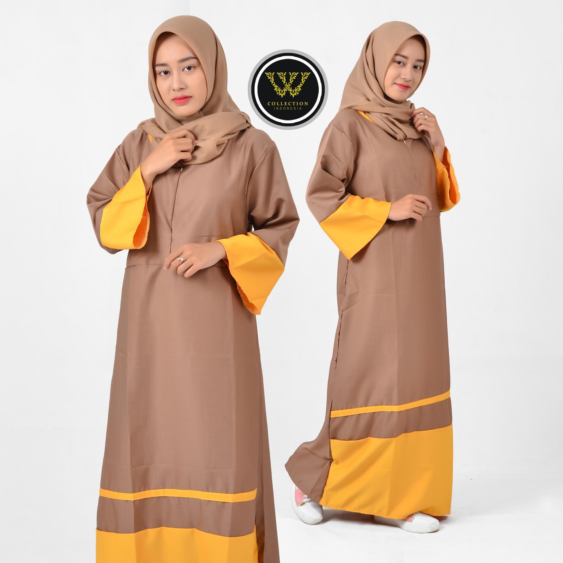 Cek Harga Baru Wuwus Gamis Balotelli Premium Polos Super Mayung Kerut Pinggang Kombinasi Warna Fashion Muslim Busui