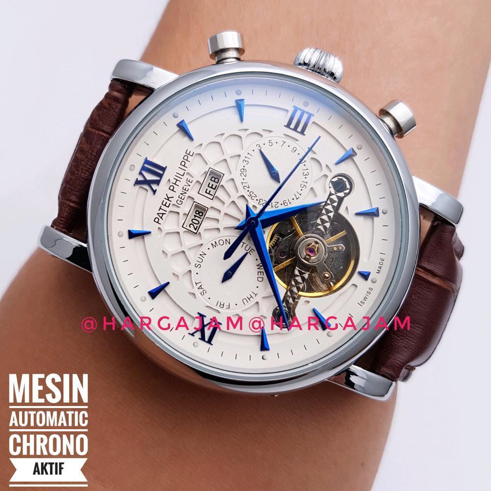 Jam Tangan Pria Automatic Patek Philippe Super Chrono List Blue By Hargajam Cowok Matic Otomatis