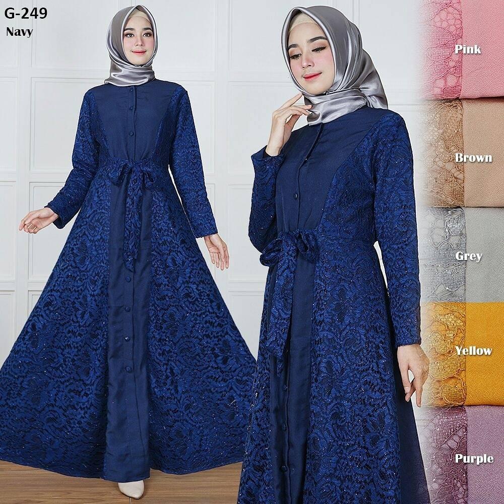 Diskon Gamis Long Dress Maxi Wanita Muslim Brokat Lace Duyung Sz Xl