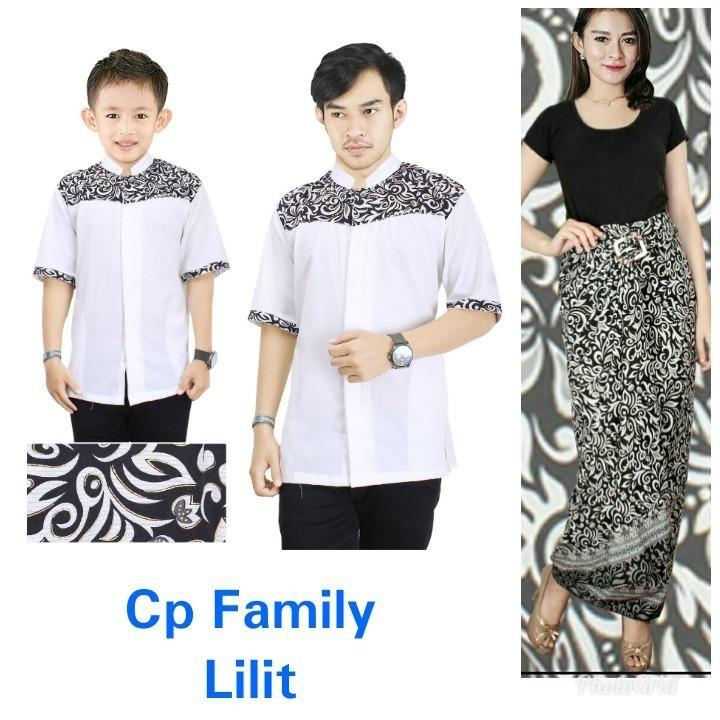 Glow fashion Couple batik 3in1 baju koko dan rok lilit bapak dan anak atasan kemeja pria dewasa dan kemeja anak-anak dan rok lilit batik panjang wanita jumbo blouse blus shirt long skirt Nika