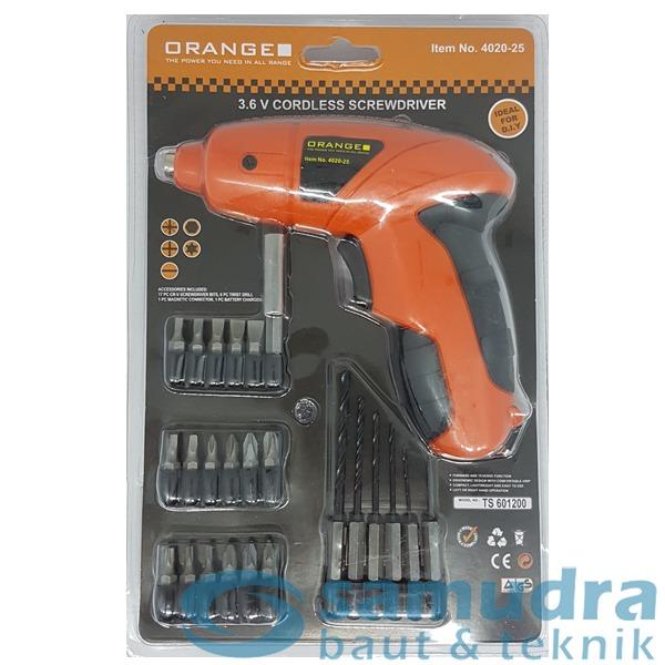 MESIN BOR MINI CORDLESS DRILL 3.6V ORANGE BONUS MATA BOR OBENG SET DIY
