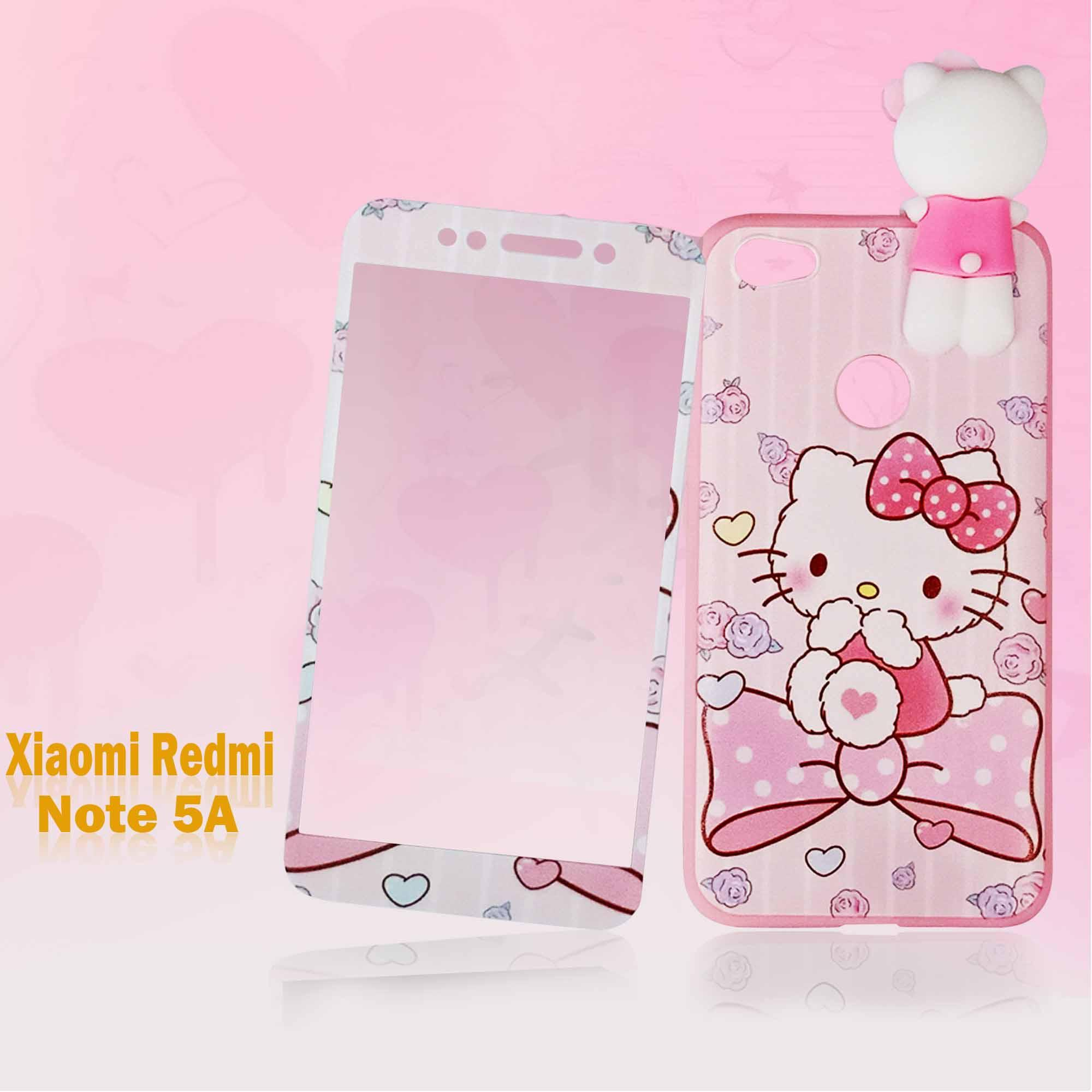 Marintri Case Xiaomi Redmi Note 5A With Tempered Glass Hello Kitty Manjat