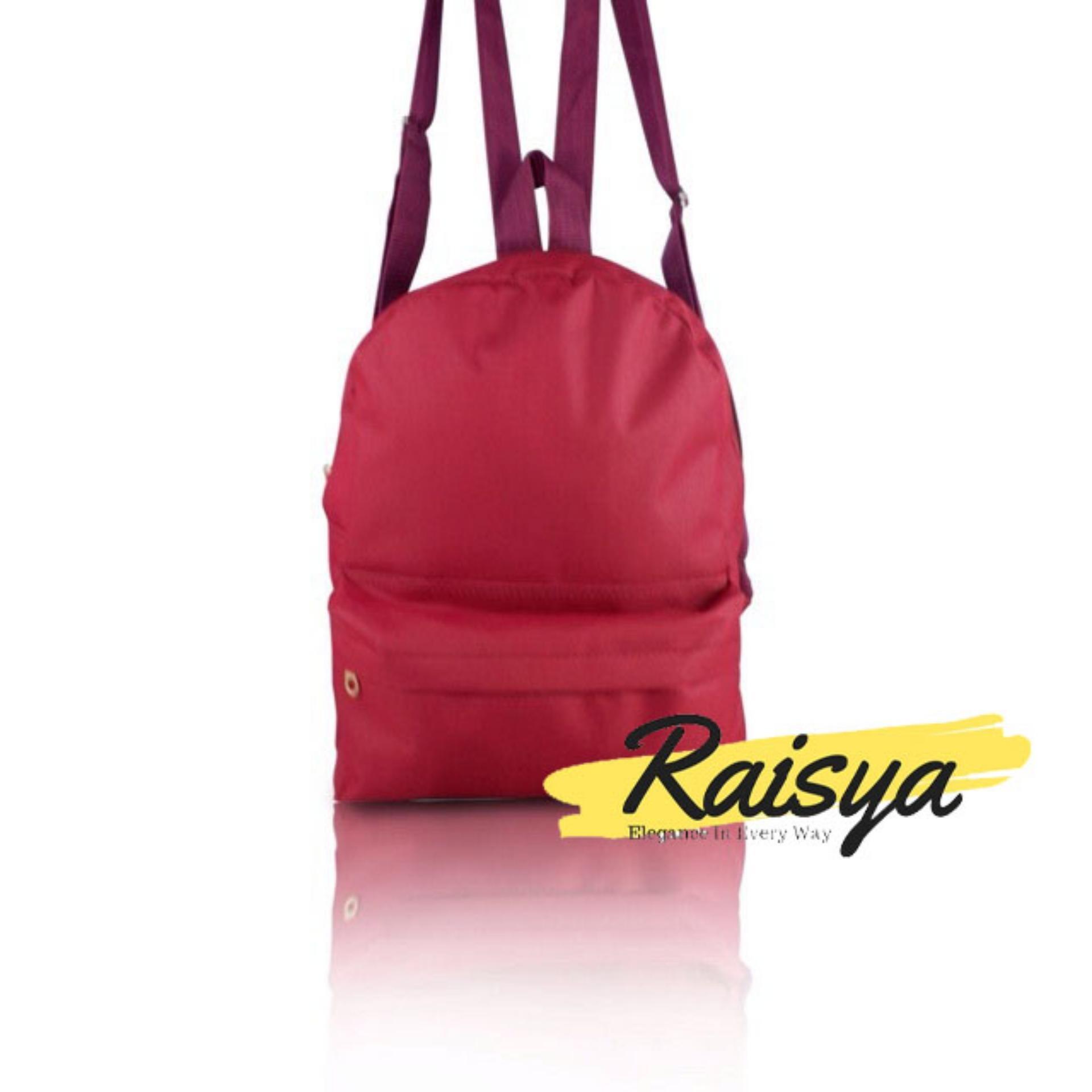 Raisya Tas Fashion Ransel Mini Canvas Polos - Maroon
