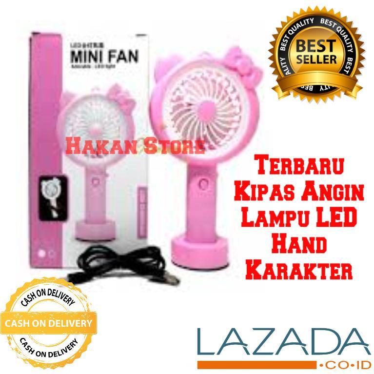 Kipas Angin Karakter Lampu LED Hand Mini Fan USB Portable - HKN
