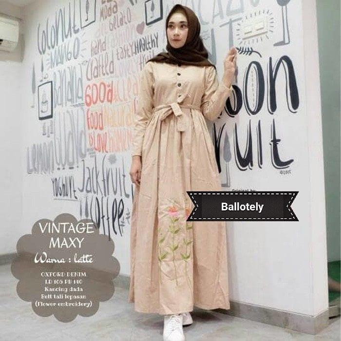 OEM Baju Original Vintage Maxy Balotely Gamis Panjang Wanita Muslim Pakaian Cewek Gaun Muslimah Hijab Casual Simple
