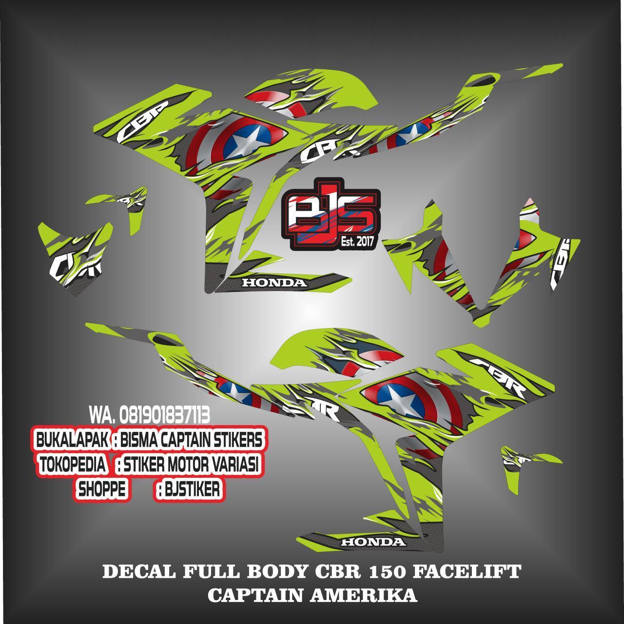 Fitur Stiker Striping List Decal Full Body Cbr New Facelift 150 Sticker Variasi Fullbody Klx S Captain Amerika 5