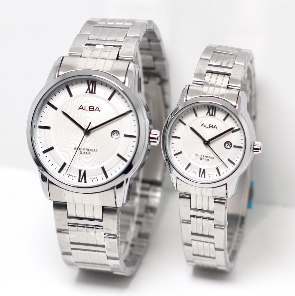 Jam Tangan Couple ALB22433 pria dan wanita rantai stainles steel Jam Tangan Couple ALBA pria dan