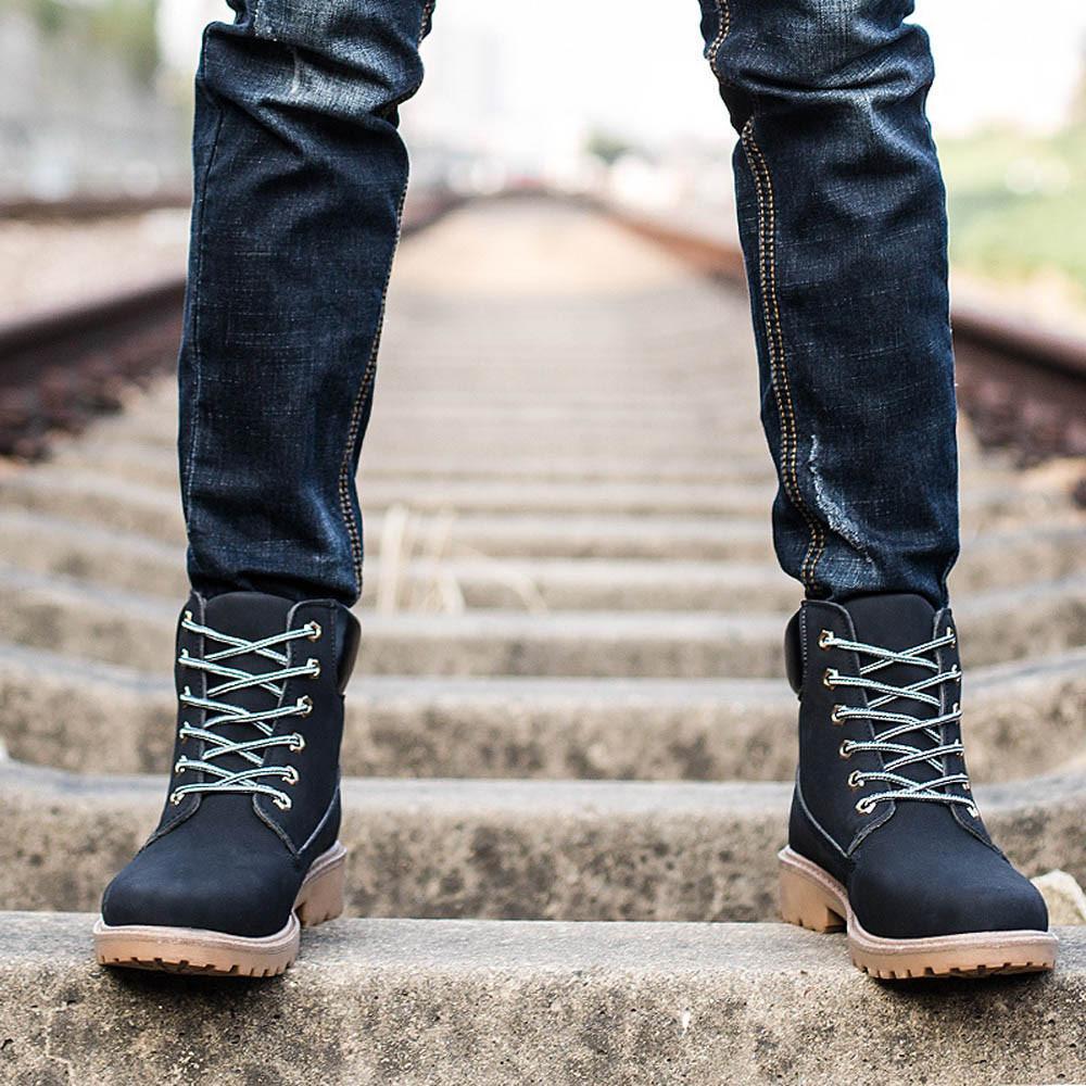 Toko Pria Ankle Boots Fur Lined Musim Gugur Musim Dingin Hangat Martin Sepatu Internasional Dekat Sini