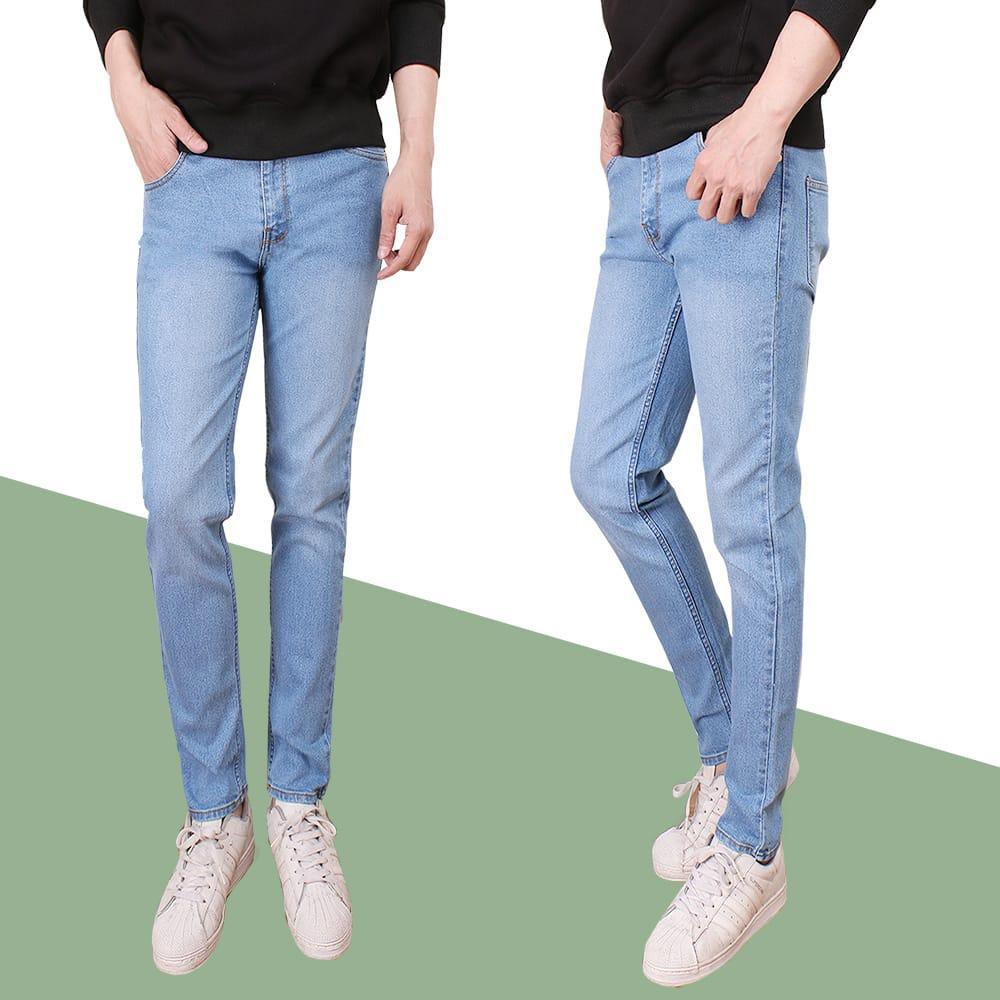 Fitur Ceana Skinny Jeans Double Sobek Celana Pensil Street Hitam Fit Pria Model Terbaru Soft Bahan Denim