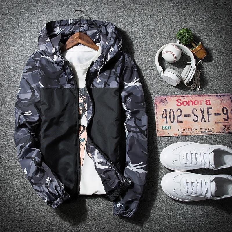 harga Korea Modis Gaya Baru Musim Semi atau Musim Gugur Remaja Jaket Jaket Pria (Kamuflase Hijau) Lazada.co.id