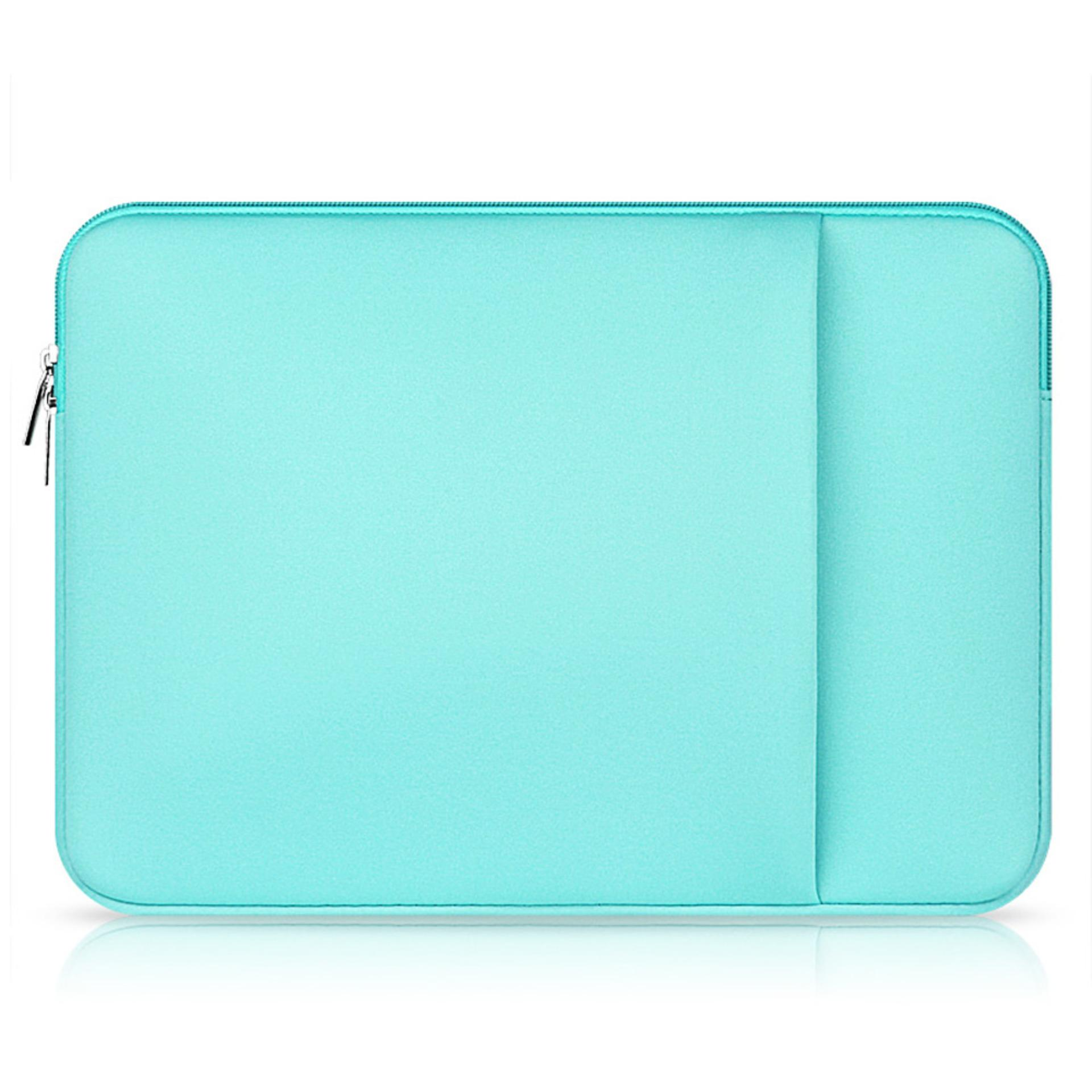 Review Laptop Protective Carrying Sleeve Pouch Bag With Side Pocket For Universal 15 6 Inch Laptop Mint Green Hong Kong Sar Tiongkok