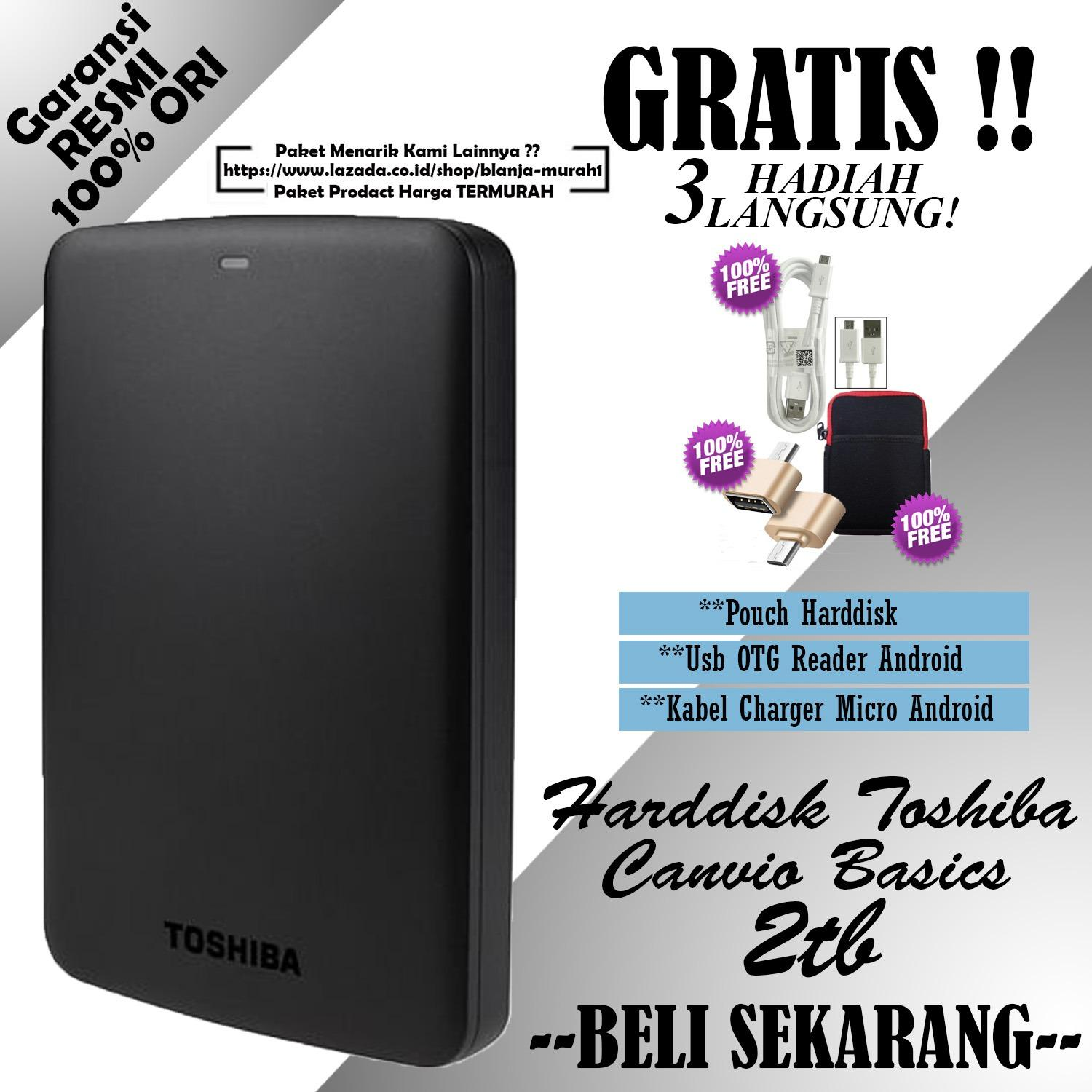 Toko Toshiba Canvio Basics 2Tb Hdd Hd Hardisk Eksternal Black Gratis Pouch Harddisk Ext Usb Otg Reader Android Kabel Charger Micro Android Termurah Di Dki Jakarta