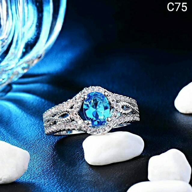 NEW Promo Perhiasan Cincin Perak Silver 925 Lapis Emas Batu Cubic Zircon Blue White C75 Murah