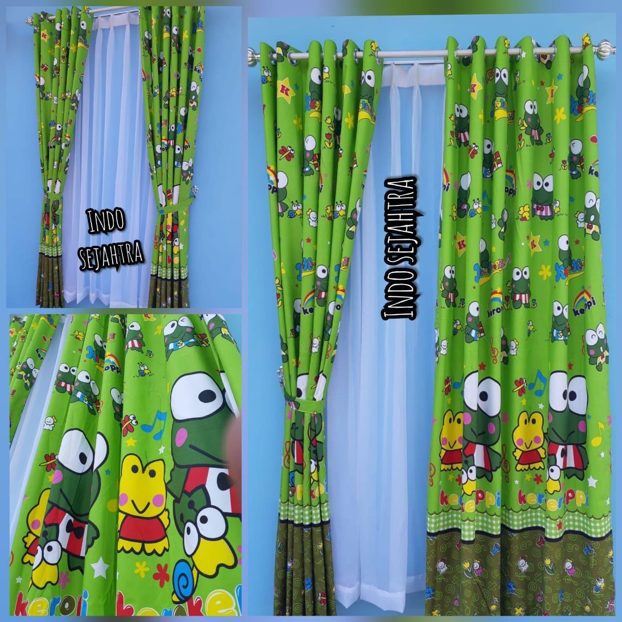Gorden karakter keropi/keroppi katun tirai jendela pintu minimalis murah dekorasi kamar tidur anak