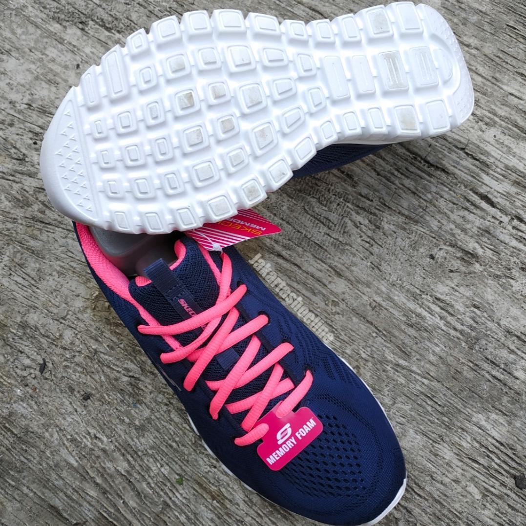 Skechers Memory Foam Women Navy/Hot Pink (100% Original)