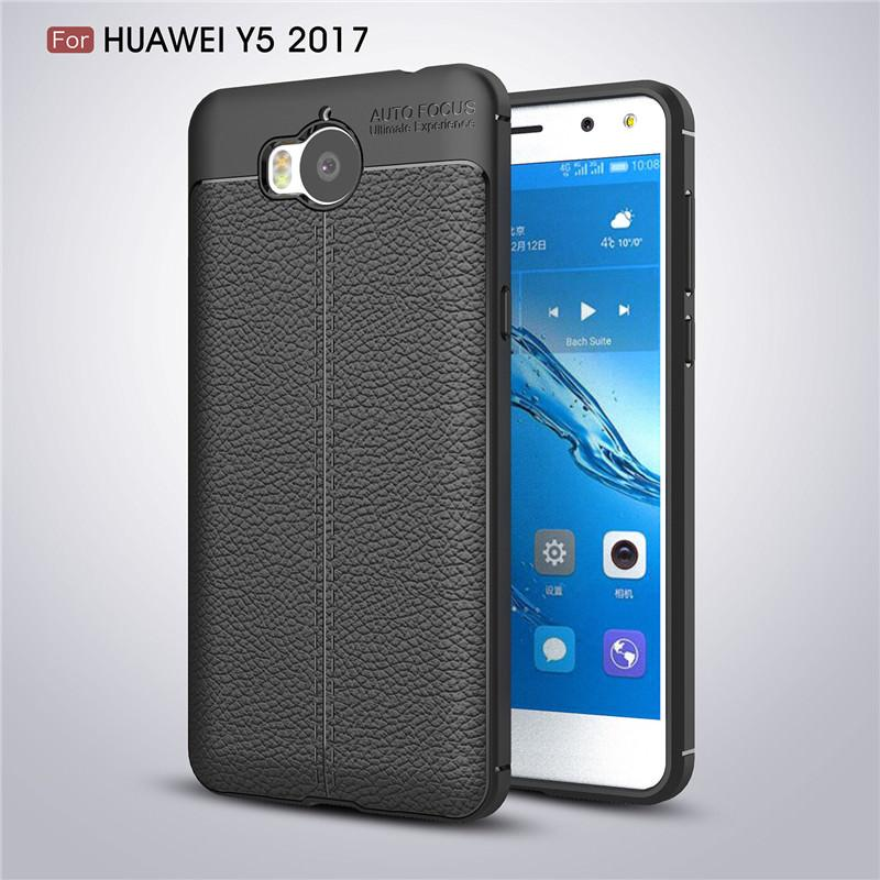 Leather Style TPU Soft Case for Huawei Y5 2017 - Hitam