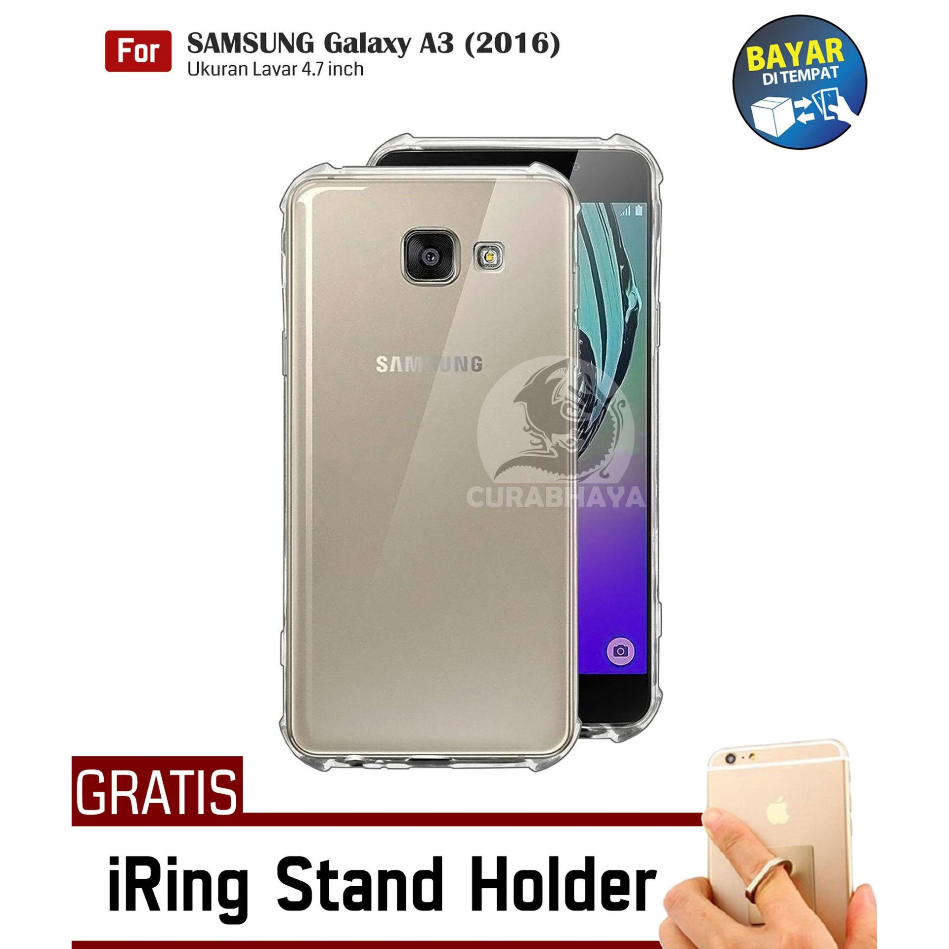 AirShock Samsung Galaxy A3 (2016) / A310 / Duos | Anti Crack Premium Softcase Cushion ShockProof + Gratis Free iRing Stand