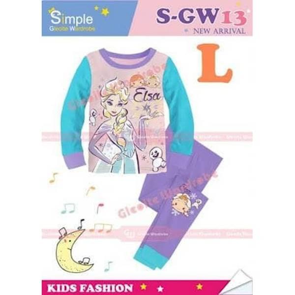 Promo Piyama Baju Tidur Anak Perempuan Cewek SGW 13 L Elsa Froze Ungu Tosca Berkualitas