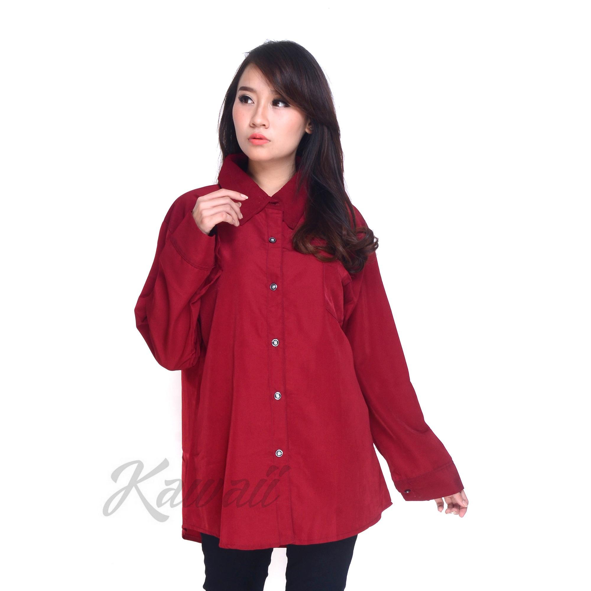 Kawaii Fashion Kemeja Tiara XXL Jumbo Polos Baju Atasan Wanita Murah