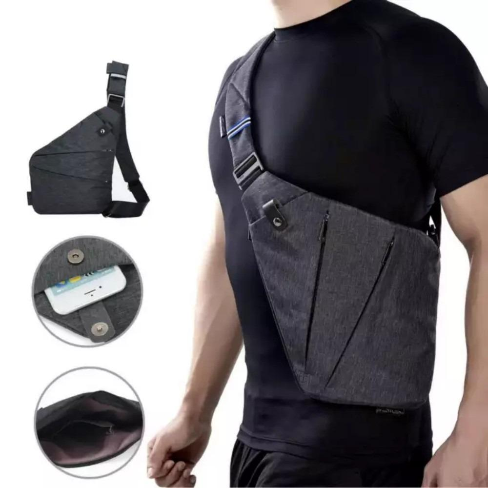 Jual Key Bag Tas Selempang Anti Maling Pria Slim Fit Anti Air Grey Satu Set