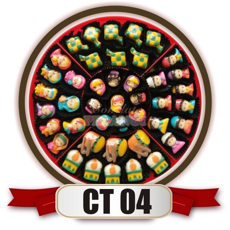 bestseller coklat lebaran aneka karakter ( muslim, muslimah, masjid, bedug, ketupat ) untuk sajian lebaran merk cokelat pelangi kemasan candytray CT04