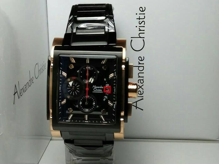 JAM TANGAN PRIA ALEXANDER CHRISTIE AC6405 BLACK ROSE GOLD ORIGINAL