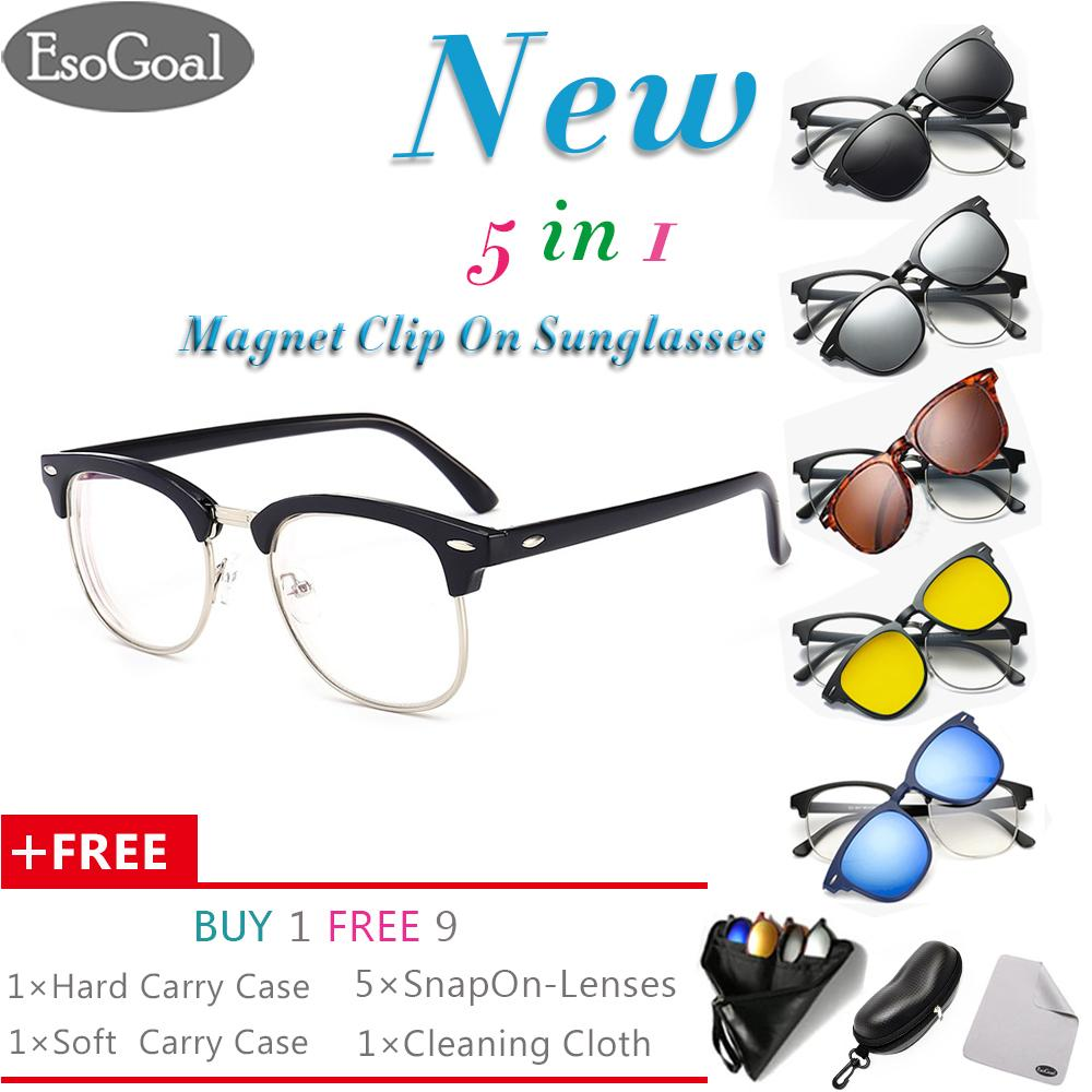 Newest Esogoal Magnetic Sunglasses Clip On Glasses Unisex Polarized Lenses Retro Frame With Set Of 5 Lenses Hard Case And Glasses Cloth Di Tiongkok