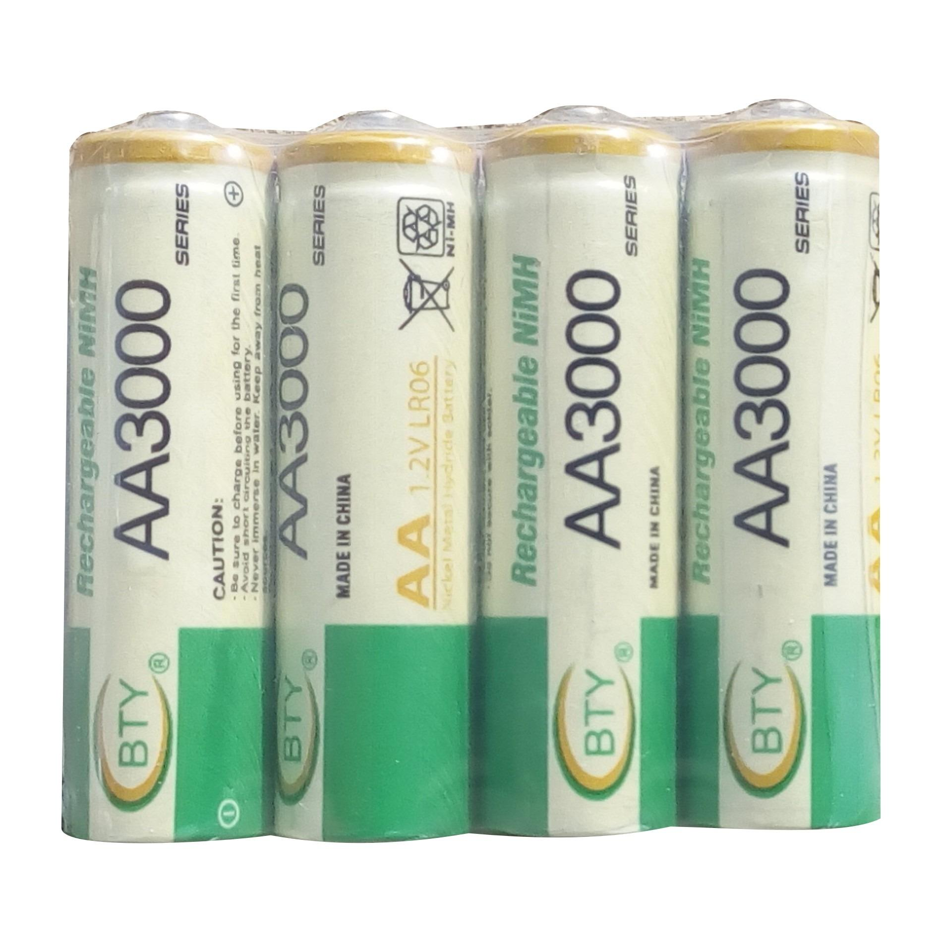 Jual Bty 4 Pcs Rechargeable Baterry Aa Nimh 1 2V 3000 Mah Import