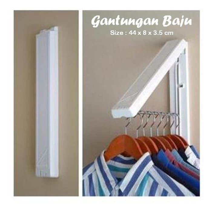 Detail Gambar Gantungan Baju Lipat Hanger Baju Dinding Jemuran Baju Gantungan Handuk ||| gantungan