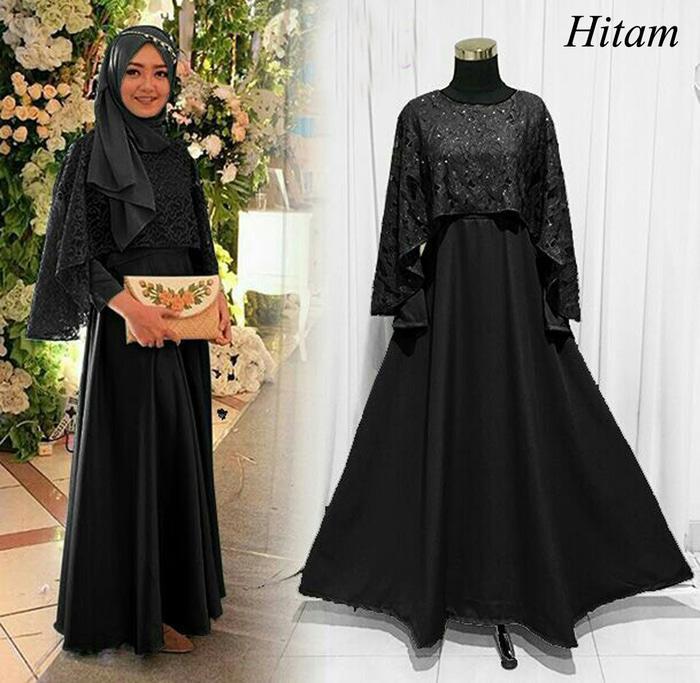 Kenzmal- Maxi Gamis Dress Baju Muslim Wanita  Pesta Jazirah Hitam