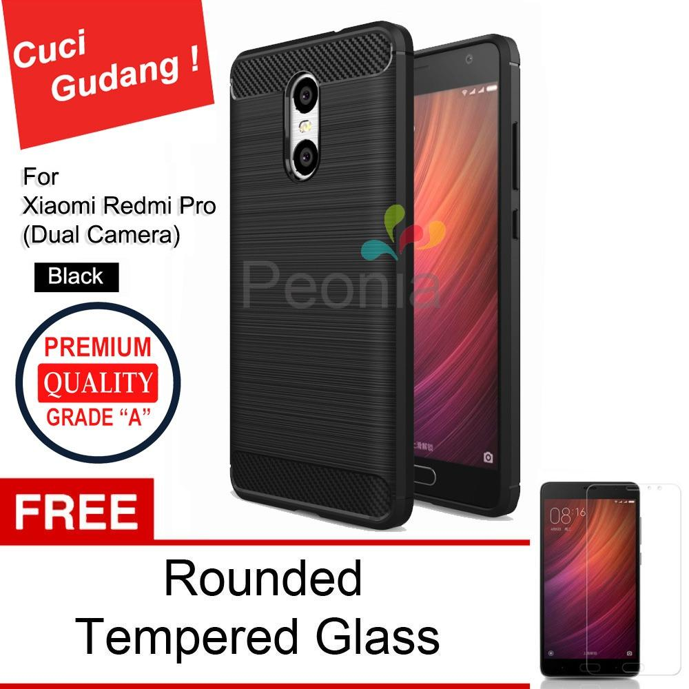 Peonia Carbon Shockproof Hybrid Premium Quality Grade A Case for Xiaomi Redmi Pro ( Dual Camera ) - Hitam + Rounded Tempered Glass
