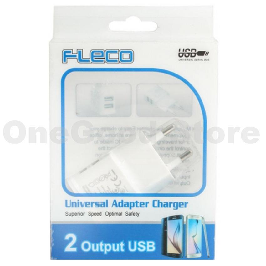 Gambar Produk Rinci Universal Travel Adapter Charger Fleco U-90 Output 2 USB For Apple / Acer / ASUS / Blackberry / Nokia / Samsung / Sony + Free USB Kabel ...