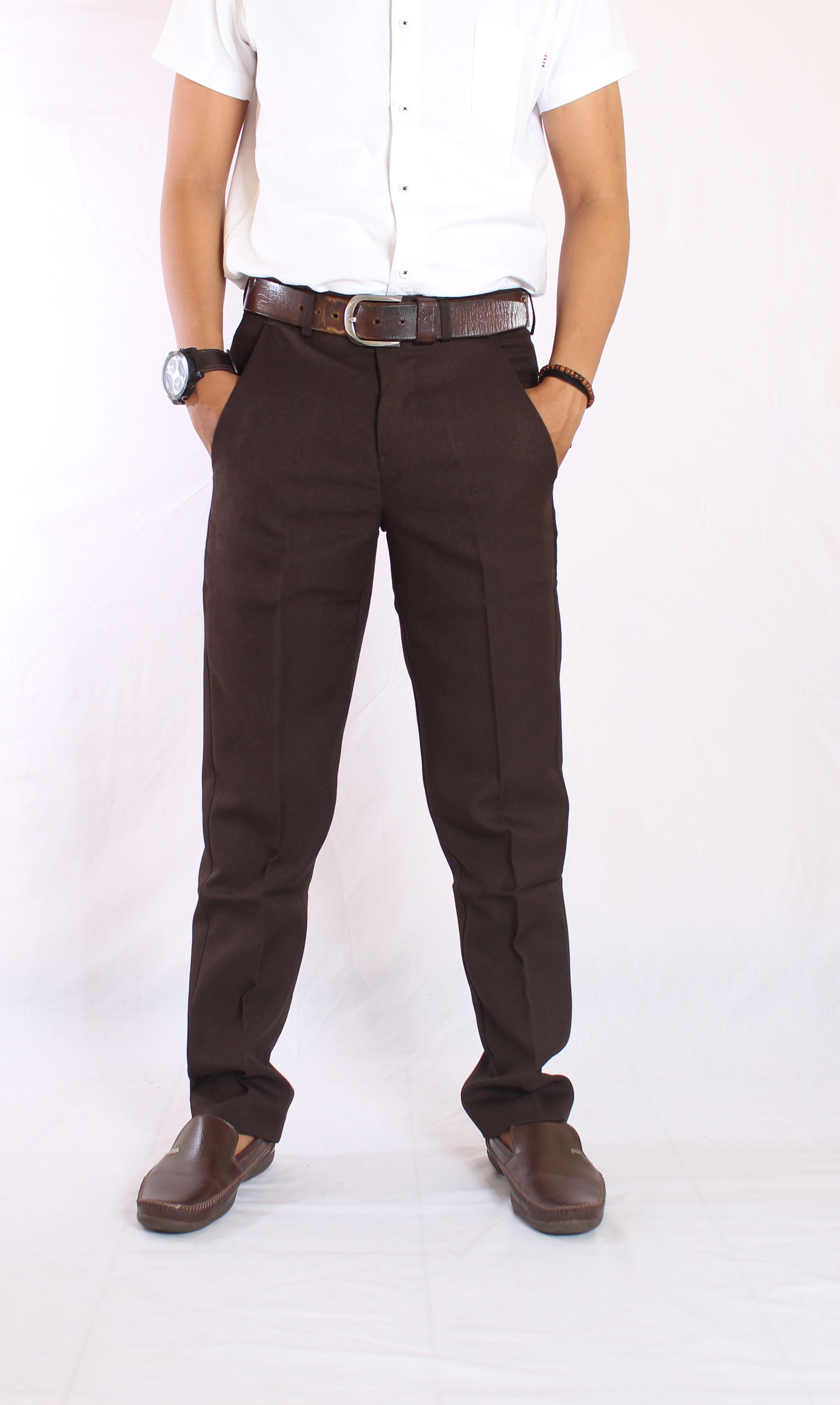 Detail Gambar it celana kantor pria cokelat celana kantor slim fit pria celana sopan pria premium Terbaru