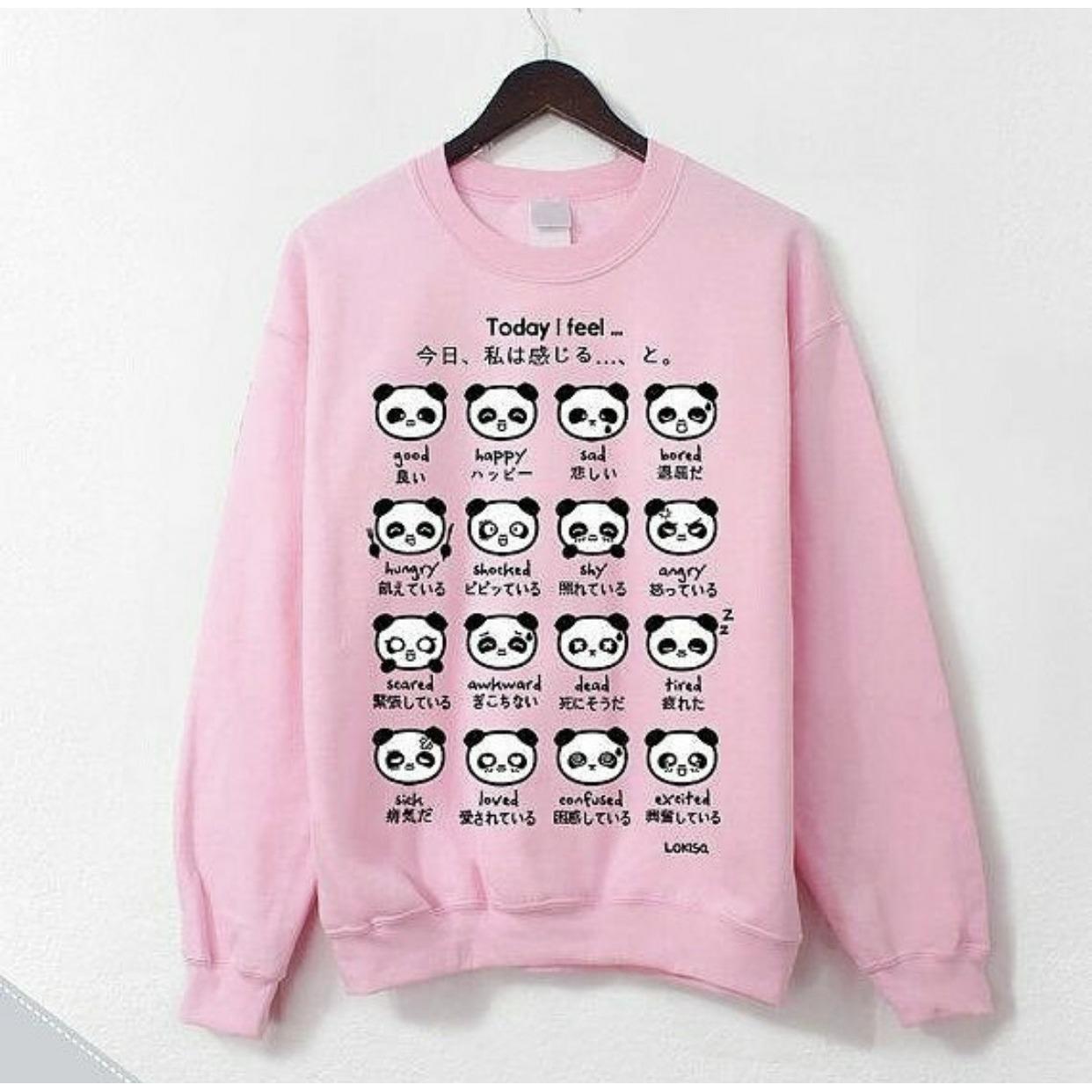 Sweater panda pink cewek