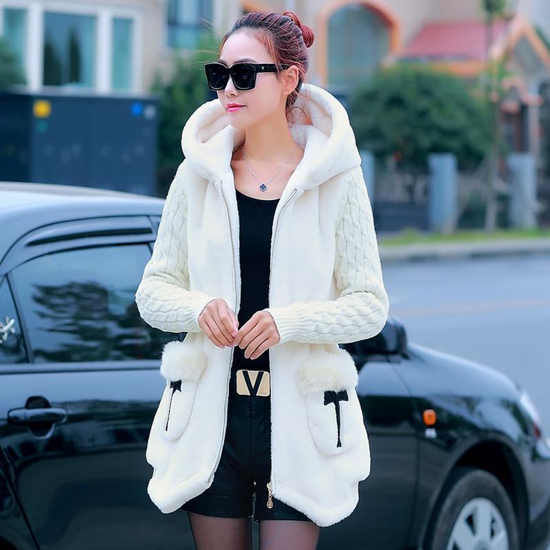Dalam Baju Katun Mewah Jaket Katun Kasual Bulu Domba Wanita (8827 Mati-Putih )
