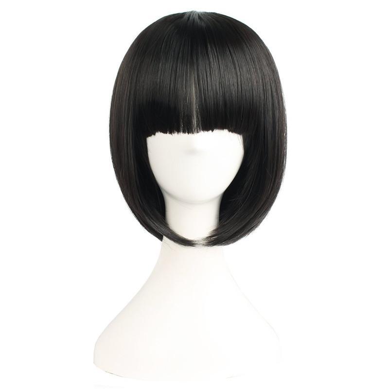 Mapofbeauty Pendek Bob Lurus Wig Falt Poni Hitam Alami Rambut Palsu untuk  Wanita Tahan Panas Kostum 57c73e9a00