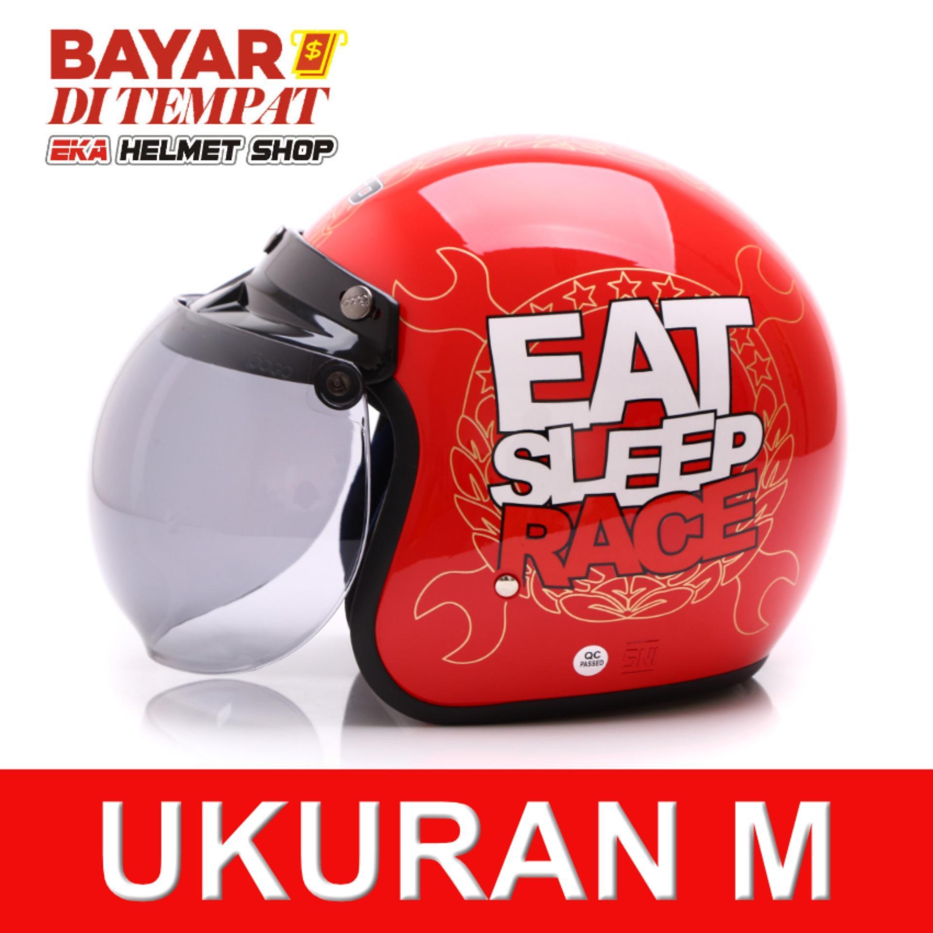 WTO Helmet Retro Bogo - Eat Sleep Race - Merah