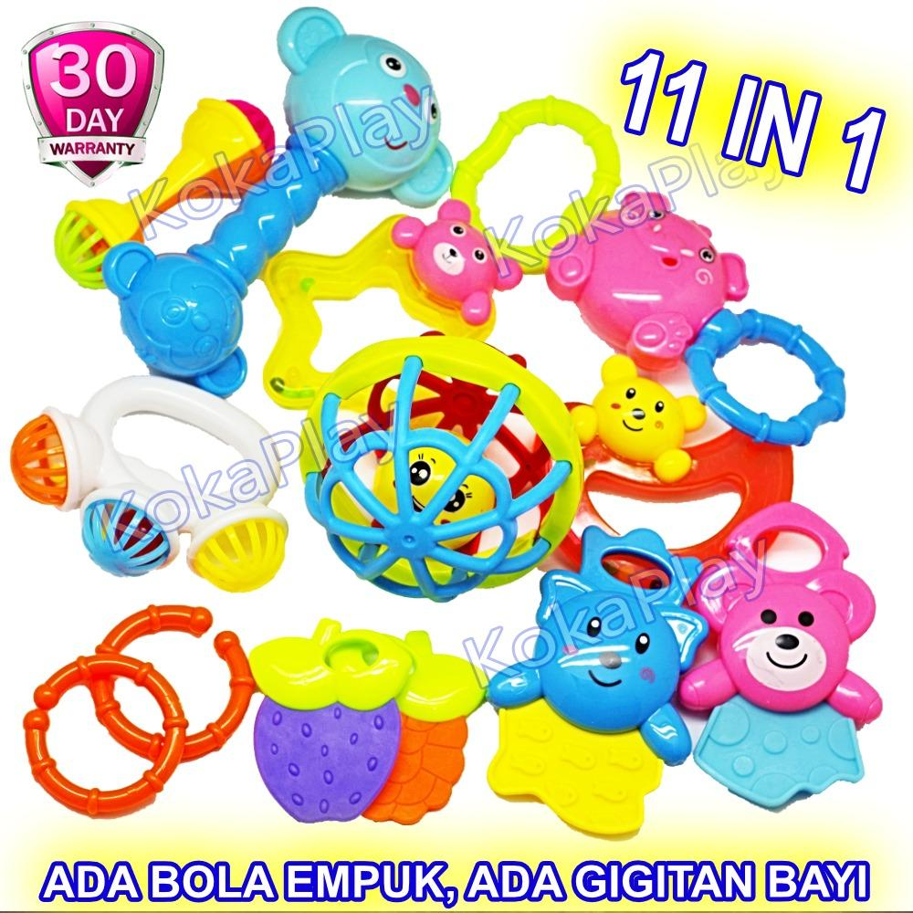 KokaPlay Baby Rattle Squishy 11 in 1 Play Set Mainan Anak Edukasi Kerincingan Bayi 11 in 1 Gigitan Bayi Soother Teether