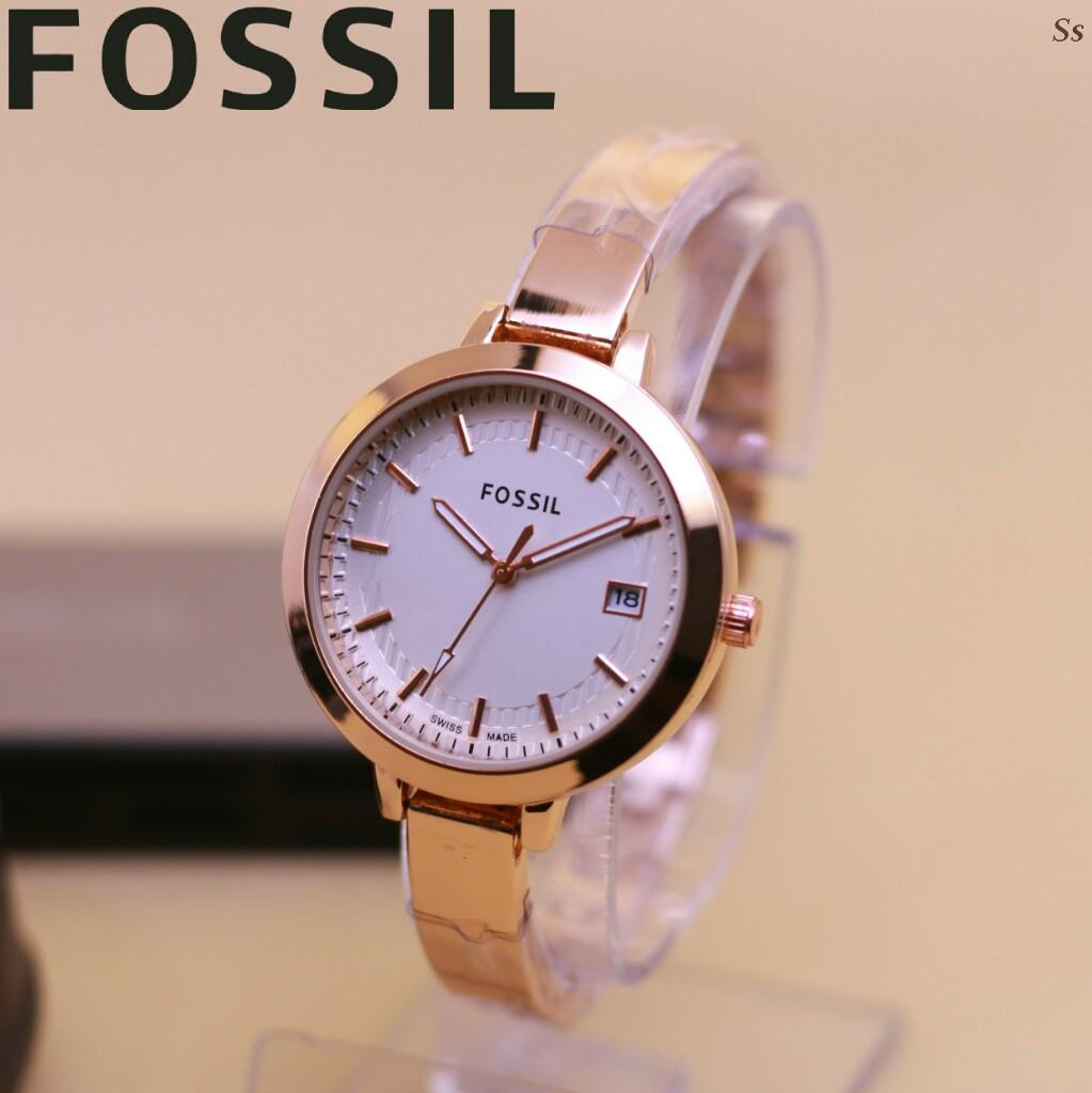 Kelebihan Fossil Jam Tangan Wanita Stainless Steel Am 4616 Gold Es3225 Original Fashion Tanggal Rantai Rose