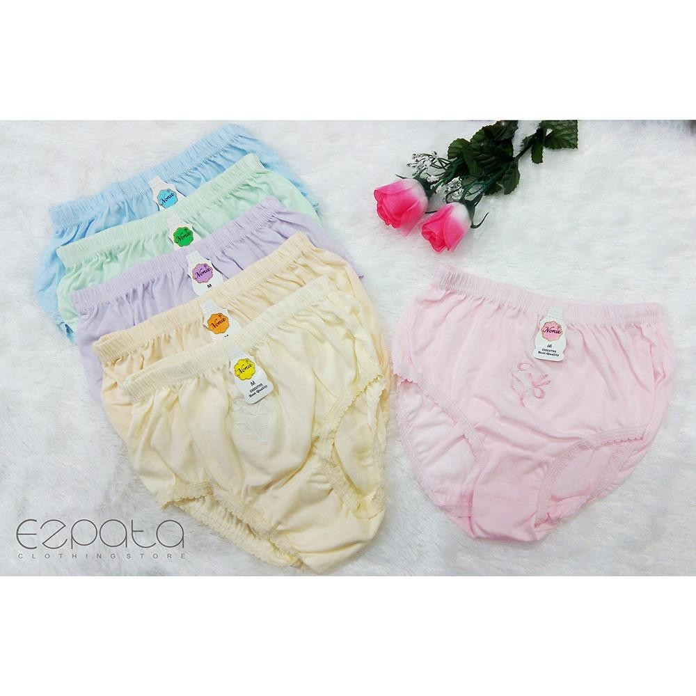 Ezpata Nonie - Isi 6 Pcs Celana Dalam Wanita Polos Bordir Full Katun Nyaman Murah