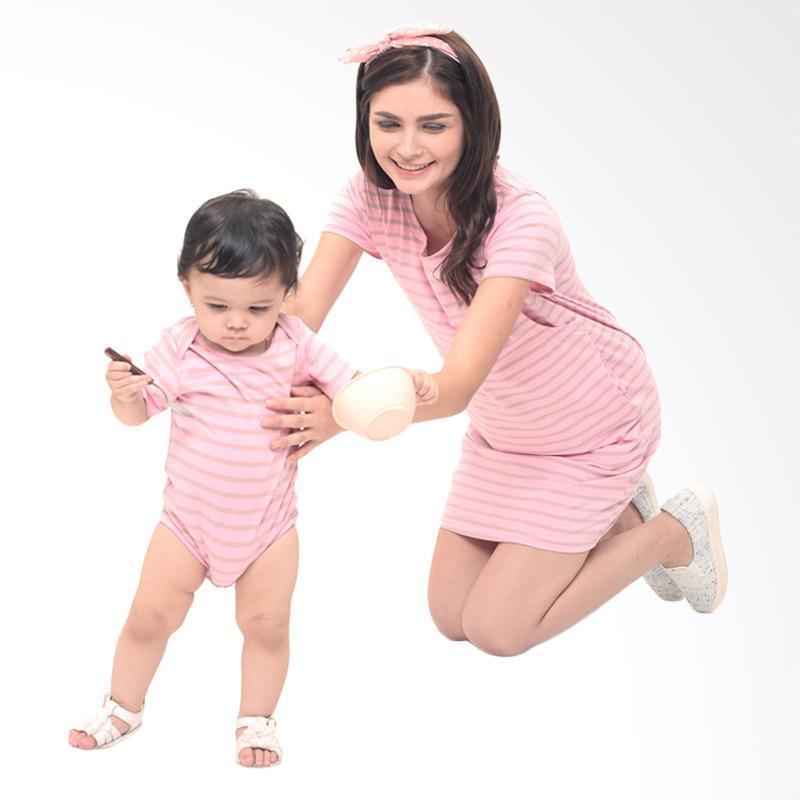 Mooimom Comfort Stripe Nursing T-Shirts Dress Set Baju Couple Ibu Hamil Menyusui & Anak - Pink