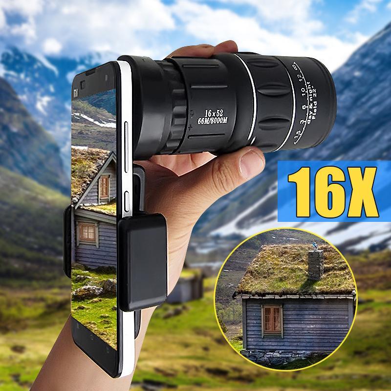 16x52 Hiking Camera Lens Telescope Monocular + Clip +Phone Holder For Smartphone - intl