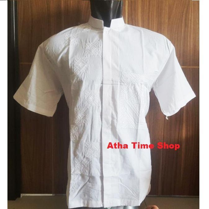 Jual Baju Koko Pria Katun Bordir Putih Tangan Pendek T2Com Online