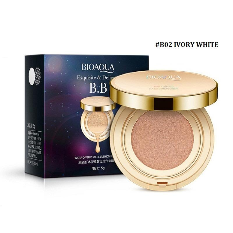 Beli Bioaqua Exquisite And Delicate Bb Cream Air Cushion Pack Gold Case Spf 50 Foundation Make Up Ivory White Cicilan