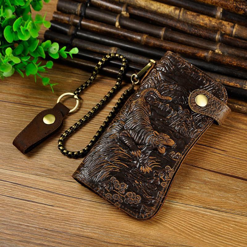 Naga Dompet Kulit Asli Dompet Kulit Sederhana (Coklat gelap harimau totem)
