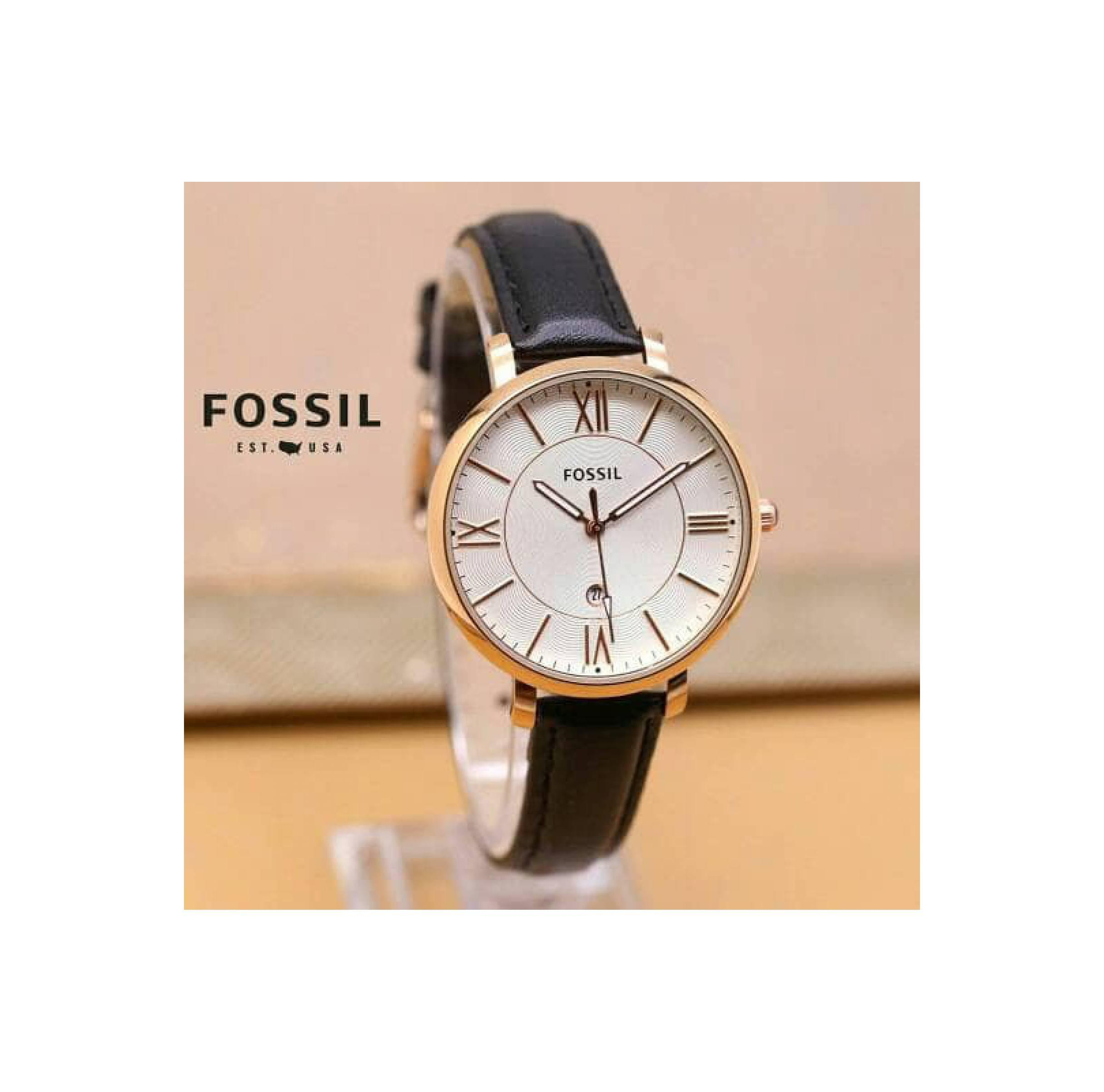 Fossil Es3487 Jacqueline Jam Tangan Wanita Bahan Tali Leather Beige Original Es3988 Blush Cewek Stap Hitam